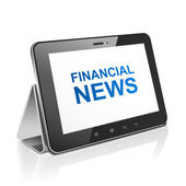 Tablet computer with text financial news on display  — Vector de stock