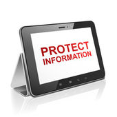Tablet computer with text protect information on display  — Stock Vector