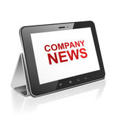 Tablet computer with text company news on display — Vetorial Stock