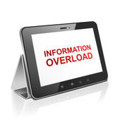 Tablet computer with text information overload on display  — Stock Vector