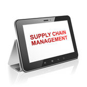 Tablet computer with supply chain management on display  — Stock Vector