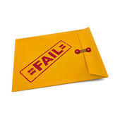 Fail stamp on manila envelope — Stock Vector