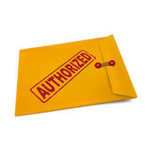 Authorized stamp on manila envelope — Stock Vector