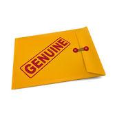 Genuine stamp on manila envelope  — Stock Vector