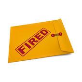 Fired stamp on manila envelope — Stock Vector