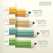 Creative template of pencil bar chart infographic  — Vector de stock