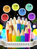 Colorful collage style infographic with color pencil  — Vector de stock