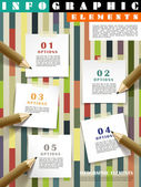 Creative template infographic with pencils writing on post-it  — Vector de stock