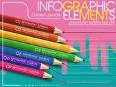 Creative template infographic with colorful pencils over modern  — Vector de stock