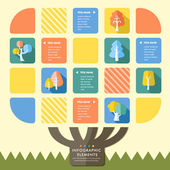 Creative flat style infographic with colorful tree elements — Vector de stock