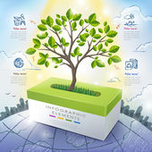 Ecology concept template infographic with tree and tissue box — Stock Vector