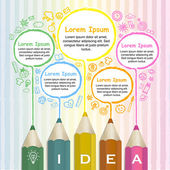 Creative template infographic with colorful pencils drawing line — Stock Vector