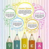 творческий шаблон инфографики с красочных карандаши, рисование линии — Cтоковый вектор