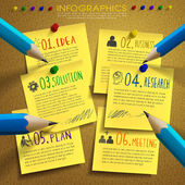 Creative template infographic with post-it and pencil  — Stock Vector