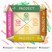 Creative template infographic with colorful pencils and flow cha — Vector de stock