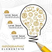 Moderní šablona infographic s tužkou, kresba žárovka — Stock vektor