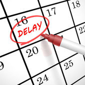Delay word circle marked on a calendar — Vettoriale Stock