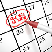 File tax return words circle marked on a calendar — Stock Vector