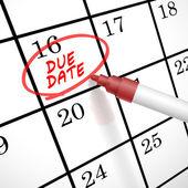 Verschuldigde datum woorden cirkel gemarkeerd op een kalender — Stockvector