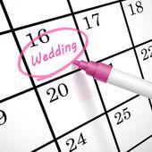 Wedding word circle marked on a calendar — Stock Vector
