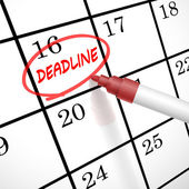 Deadline word circle marked on a calendar — Vettoriale Stock