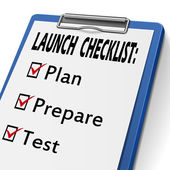 Launch checklist clipboard — Stock Vector