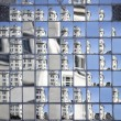 Scattered urban scene, large refelctive window — Stock Photo
