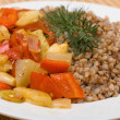 Buckwheat cereal with vegetables — Stock Photo