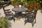 桌子和椅子在一个热带花园 — 图库照片