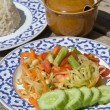 Papaya salad hot and spicy — Stok fotoğraf