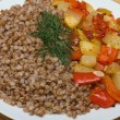 Buckwheat cereal with vegetables — ストック写真