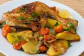 Smažené kuřecí stehýnka — Stock fotografie