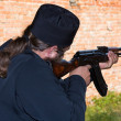 Man with the Kalashnikov gun — Stock Photo