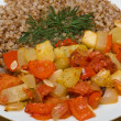 Buckwheat cereal with vegetables — Stok fotoğraf