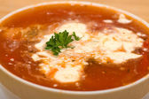 Borshch, traditional Russian and Ukrainian soup — Stock Photo