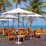 Tables at beach restaurant — Stock Photo