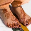 Henna On Feet Of Bride - Stock Photo