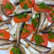 Stock Photo: Sandwiches with sprats on plate