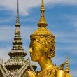 Golden statue of Kinnara in Bangkok, Thailand — Stock Photo