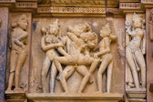 Temples of Khajuraho, famous for their erotic sculptures — Foto de Stock