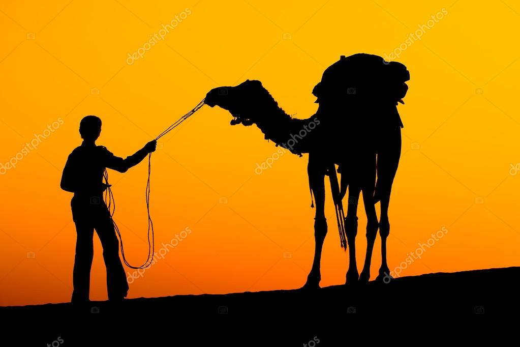 Rajasthan village. Silhouette of a man and camel at sunset in the desert, Jaisalmer - India — Stock Photo #18335651