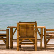 Table and chairs with a beautiful sea view , Thailand. — Stok fotoğraf