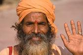 Indian Sadhu Welcomes — Stock Photo