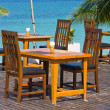 Table and chairs with a beautiful sea view , Thailand. — 图库照片
