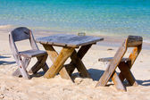 Table and chairs with a beautiful sea view , Thailand. — Stock Photo