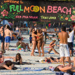 Beach before the full moon party in island Koh Phangan, Thailand - Stock Photo