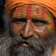 JAISALMER, INDIA - NOVEMBER 15: An unidentified portrait sadhu stand on the Gadi Sagar Gate on November 15, 2012 in Jaisalmer, Rajasthan, India. — Stock Photo