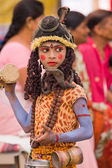 RISHIKESH, INDIA - OCTOBER 21: Unidentified girl dressed as Kumari at Dussehra festival celebration on October 21, 2012 in Rishikesh, India. — Stock Photo