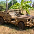 Stock Photo: Old wooden car in the jungle . Thailand .