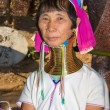 图库照片: Portrait of Karen long neck hill tribe girl at village,BHuay sue towhere tourist daily visiting in Mae Hong Son, Thailand on November 10, 2011